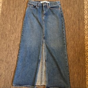 Gap Womens Blue Jean Skirt Denim Long Maxi A Line